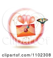 Clipart Love Letter With Hearts And A Butterfly Royalty Free Vector Illustration