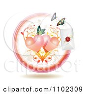 Clipart Love Letter With Hearts And Butterflies Royalty Free Vector Illustration