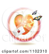 Clipart Love Letter With A Heart And Butterflies Royalty Free Vector Illustration