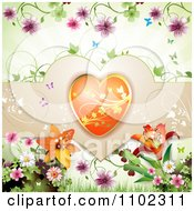 Clipart Butterfly Flowers And Heart Valentines Day Background Royalty Free Vector Illustration