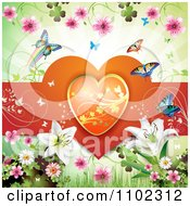 Clipart Butterfly Daisy Lilies And Heart Valentines Day Background Royalty Free Vector Illustration