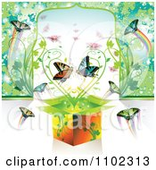 Clipart Gift Box With Butterflies And Heart Vine Royalty Free Vector Illustration