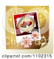 Clipart Heart Instant Photo With Daisies Over Gold Floral Royalty Free Vector Illustration