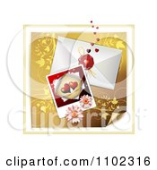 Clipart Heart Instant Photo With An Envelope And Daisies Over Gold Floral 1 Royalty Free Vector Illustration
