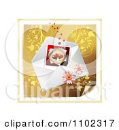 Heart Instant Photo With An Envelope And Daisies Over Gold Floral 2