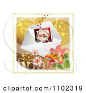 Heart Instant Photo With An Envelope And Daisies Over Gold Floral 3