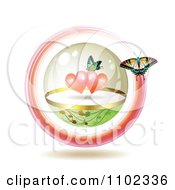 Butterfly Circling Another In A Sphere With Hearts
