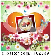 Butterfly Daisy Blossom And Heart Picture Valentines Day Background