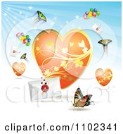Clipart Butterfly Heart Love Letter Backround 1 Royalty Free Vector Illustration by merlinul