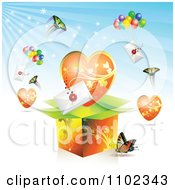 Clipart Butterfly Heart Love Letter Backround 2 Royalty Free Vector Illustration by merlinul