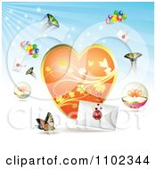 Clipart Butterfly Heart Love Letter Backround 3 Royalty Free Vector Illustration by merlinul