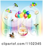 Clipart Butterfly Heart And Balloon Valentines Day Background Royalty Free Vector Illustration