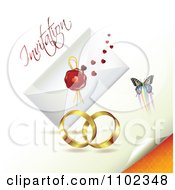 Clipart Wedding Bands With An Invitation Envelope And Butterflies 2 Royalty Free Vector Illustration