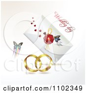 Clipart Wedding Bands Butterfly And Wedding Day Letter 1 Royalty Free Vector Illustration