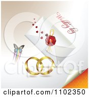 Clipart Wedding Bands Butterfly And Wedding Day Letter 2 Royalty Free Vector Illustration