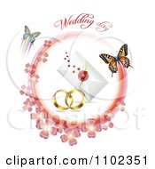 Clipart Wedding Day Text Over Bands A Letter And Butterflies With A Pink Clover Circle 1 Royalty Free Vector Illustration