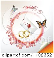 Clipart Wedding Day Text Over Bands A Letter And Butterflies With A Pink Clover Circle 2 Royalty Free Vector Illustration