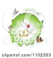 Clipart Wedding Day Text Over Bands A Letter And Butterflies With A Green Clover Circle 1 Royalty Free Vector Illustration