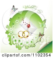 Clipart Wedding Day Text Over Bands A Letter And Butterflies With A Green Clover Circle 2 Royalty Free Vector Illustration