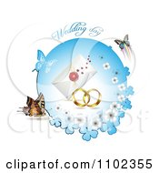 Clipart Wedding Day Text Over Bands A Letter And Butterflies With A Blue Clover Circle Royalty Free Vector Illustration