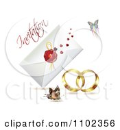 Clipart Wedding Bands With An Invitation Envelope And Butterflies 1 Royalty Free Vector Illustration