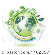 Clipart Green Globe Circled With A Fast Sealed Envelope Royalty Free Vector Illustration