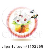 Clipart Floral Box With Sealed Envelopes And Butterflies Royalty Free Vector Illustration
