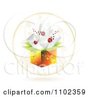 Clipart Floral Box In A Cricle With Wax Sealed Envelopes Royalty Free Vector Illustration