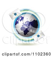 Clipart Blue Globe Circled With Fast Sealed Envelopes Royalty Free Vector Illustration