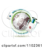 Clipart Globe With Butterflies And Sealed Mail Envelopes Royalty Free Vector Illustration by merlinul