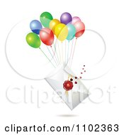 Clipart Wax Sealed Envelope With Balloons Royalty Free Vector Illustration