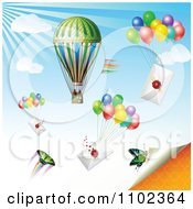 Clipart Hot Air Balloon Butterflies And Balloons With Envelopes Royalty Free Vector Illustration by merlinul