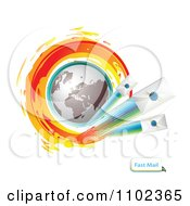 Clipart Globe Circled With Fast Sealed Envelopes Royalty Free Vector Illustration