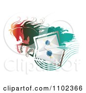 Clipart Running Horses And Wax Sealed Envelopes Royalty Free Vector Illustration by merlinul
