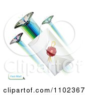 Clipart Butterflies And Sealed Envelope Royalty Free Vector Illustration