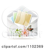 Clipart Instant Photo With A Butterfly And Daisy On An Envelope Royalty Free Vector Illustration