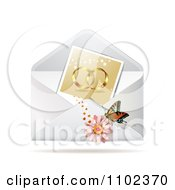 Clipart Instant Photo Of Wedding Rings With A Butterfly And Daisy On An Envelope Royalty Free Vector Illustration