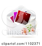 Clipart Instant Photo With Daisies On An Envelope Royalty Free Vector Illustration
