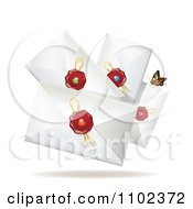 Clipart Butterfly With Wax Sealed Envelopes Royalty Free Vector Illustration