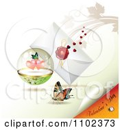 Clipart Valentines Day Text Under A Butterfly Heart Sphere And Love Letter 2 Royalty Free Vector Illustration
