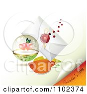 Clipart Valentines Day Text Under A Butterfly Heart Sphere And Love Letter 3 Royalty Free Vector Illustration