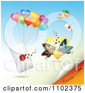 Clipart Valentines Day Text Under Love Letters With Balloons And Butterflies Royalty Free Vector Illustration