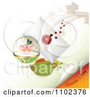 Clipart Valentines Day Text Under A Butterfly Heart Sphere And Love Letter 1 Royalty Free Vector Illustration