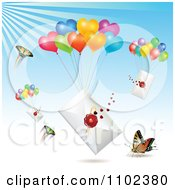 Clipart Butterflies With Sealed Letters And Heart Balloons Royalty Free Vector Illustration