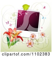 Clipart Butterfly Purple Instant Photo And Floral Background Royalty Free Vector Illustration