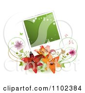 Clipart Green Instant Photo Over Lilies Blossoms And Butterflies Royalty Free Vector Illustration by merlinul