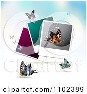 Clipart Instant Photo And Butterfly Background 3 Royalty Free Vector Illustration