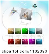 Clipart Instant Photo And Butterfly Background 4 Royalty Free Vector Illustration