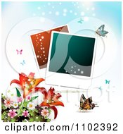Clipart Instant Photo And Butterfly Background 1 Royalty Free Vector Illustration