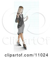 Young Long Haired Business Woman Over A Grid Background